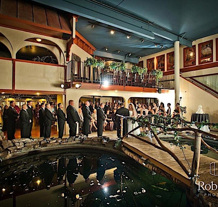 Wedding in the courtyard over the koi pond