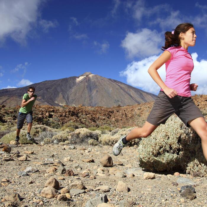 Woman jogging in the desert