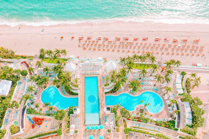 Birds eye view of The Diplomat Beach Resort Pool and Beach in So
