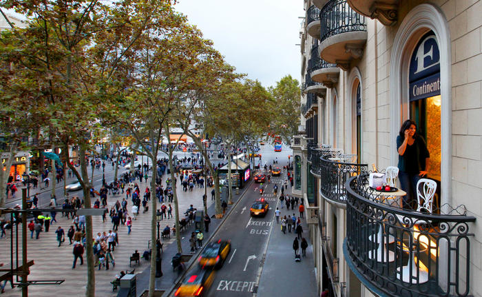 Las Ramblas from the balcony
