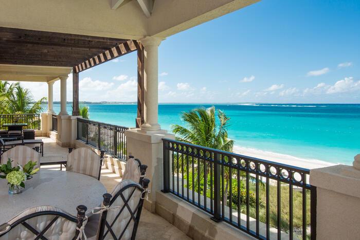 5 Bedroom Ocean Front Penthouse balcony in Somerset Grace Bay