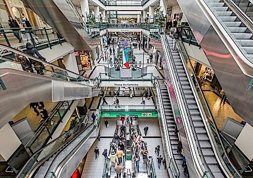 shopping center escalators