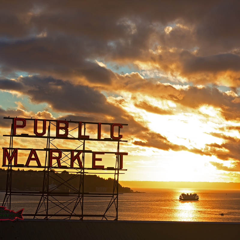 Pike Place Market sign, Elliott Bay, Ferry