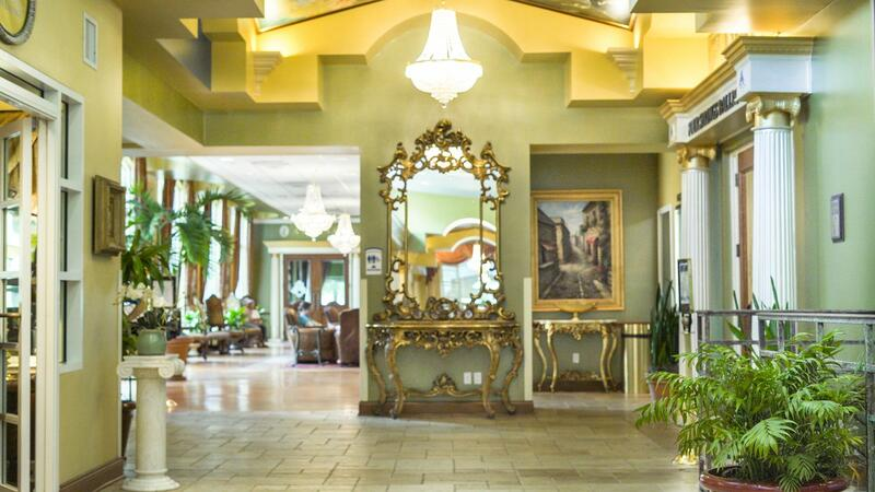 Hotel lobby with decadent art and décor.