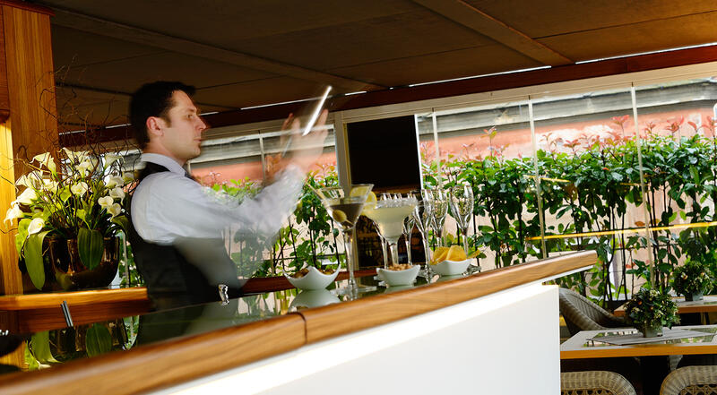 Barman at the terrace bar of hotel babuino 181