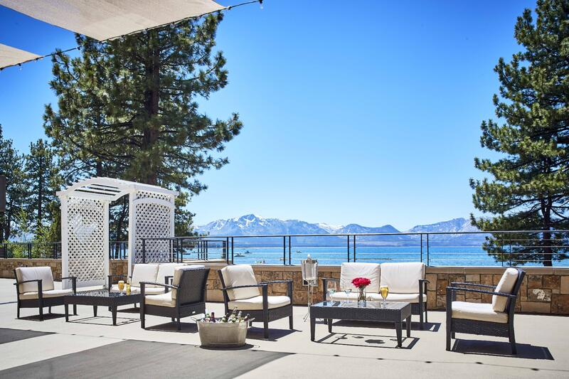 Outdoor patio seating with views of Lake Tahoe