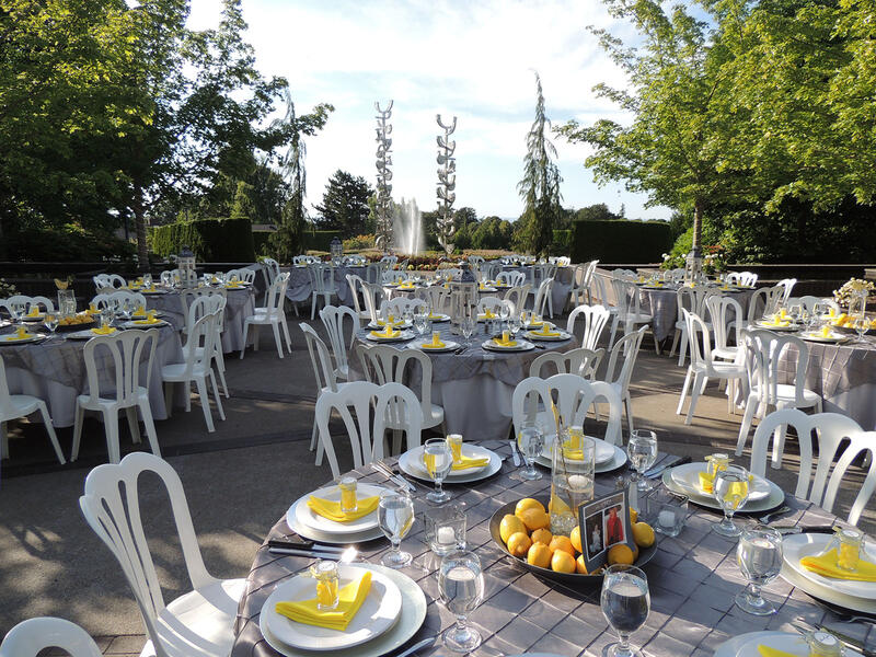 Chairs and tables at outdoor wedding venue