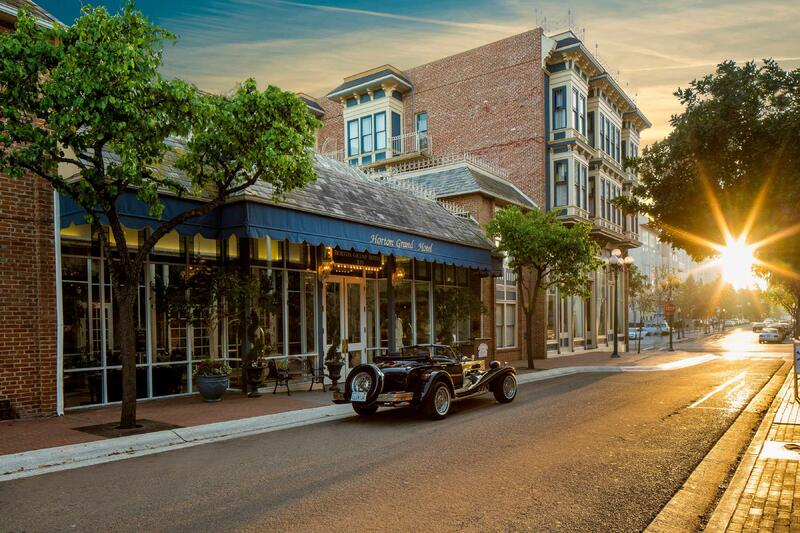Hotel exterior and vintage car
