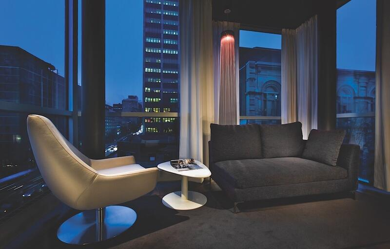 Suite Interior with Downtown Montreal Views