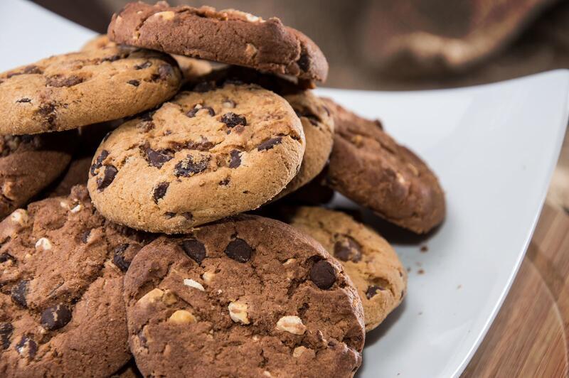 Piles of homemade cookies