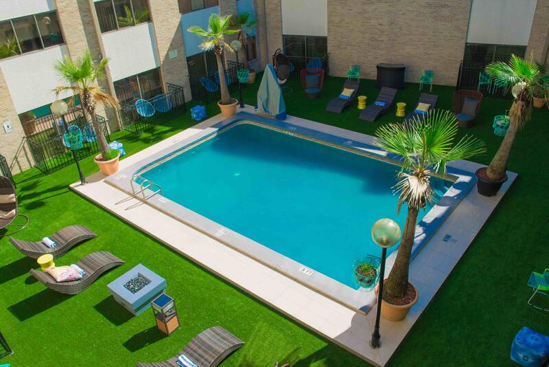 Aerial view of courtyard pool