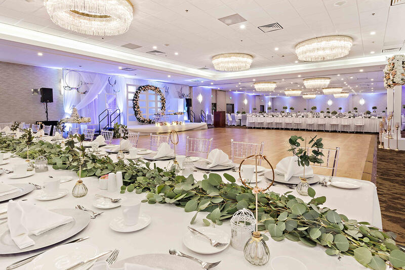 ballroom set up for wedding reception