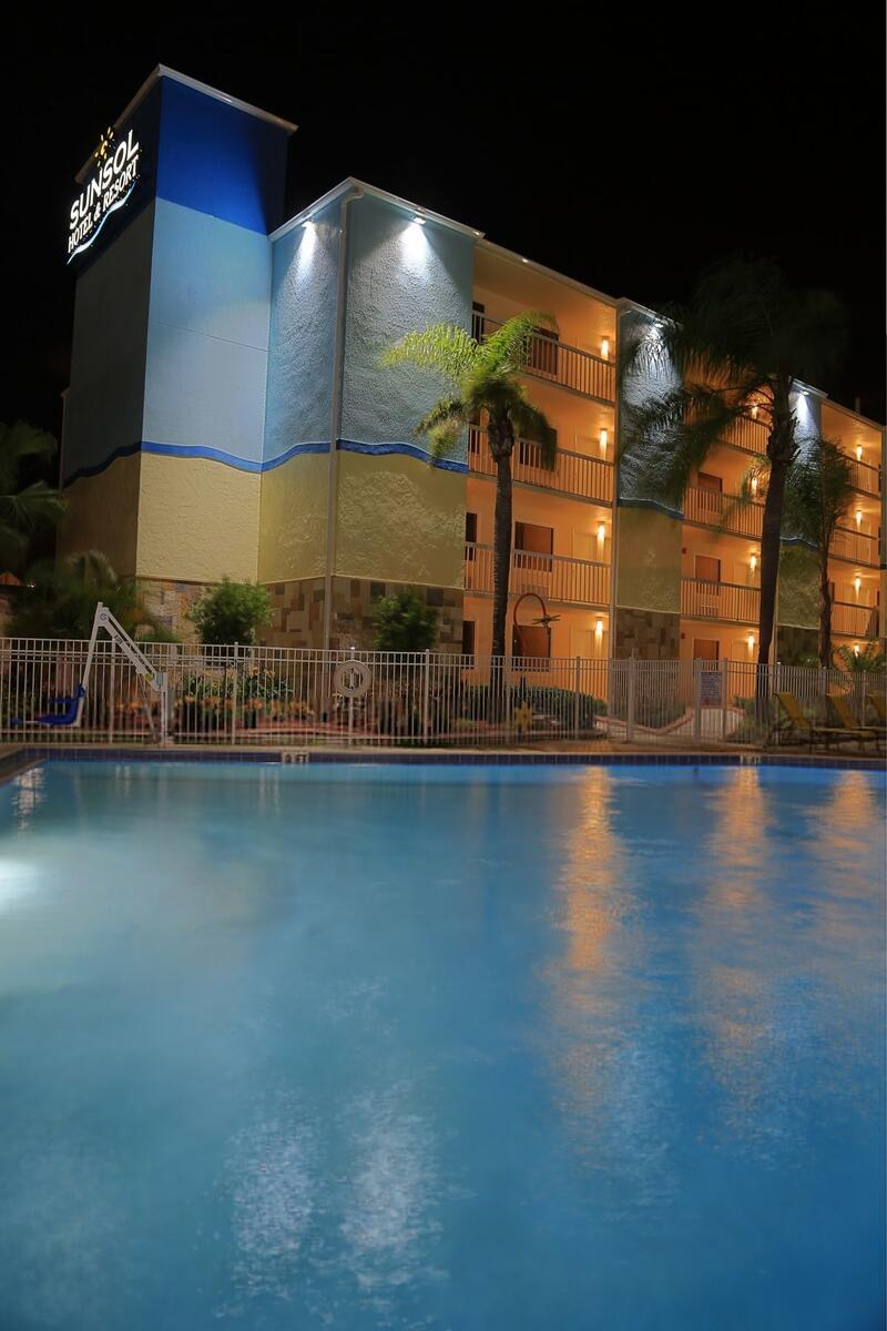 sunsol pool at night