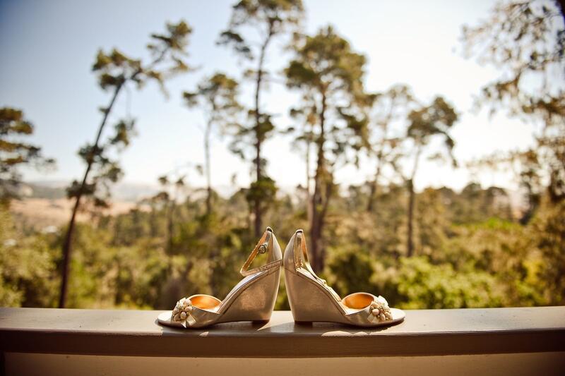 Bride's shoes on balcony ledge