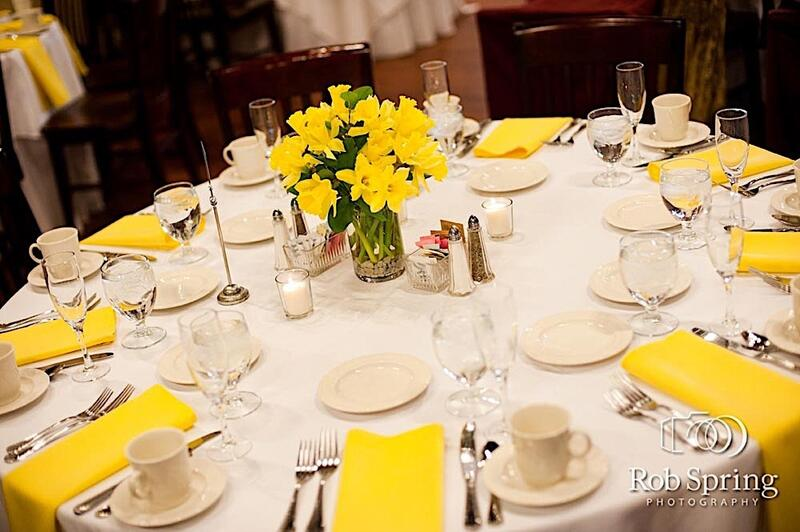 Round table set with yellow accents