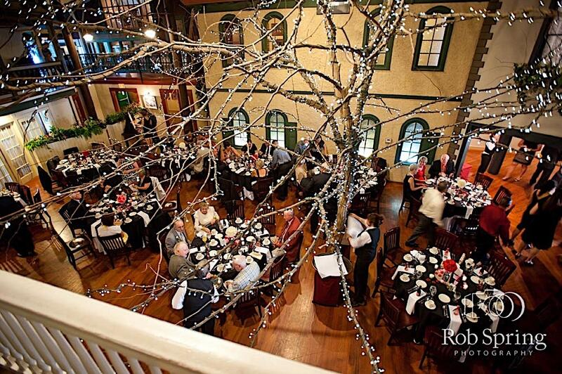 Overhead view of wedding held in the courtyard
