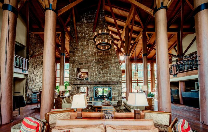 Hotel lobby with couches and fire place