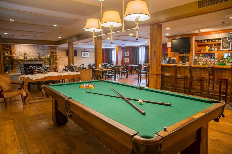Billiards table at hotel tavern
