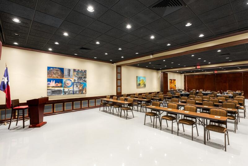 Meeting space set classroom style with podium