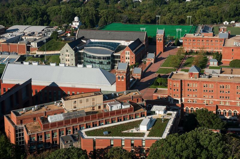 aerial photo of georetown university campus