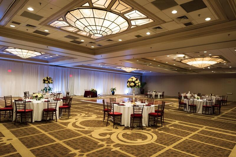 ballroom with tables and flowers