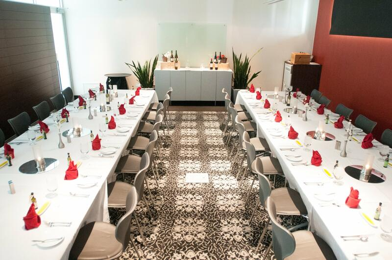 Private meeting room with long tables