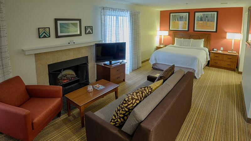 Studio Suites Living Area and Queen Size Bed
