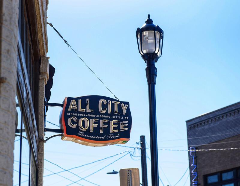 All City Coffee shop sign