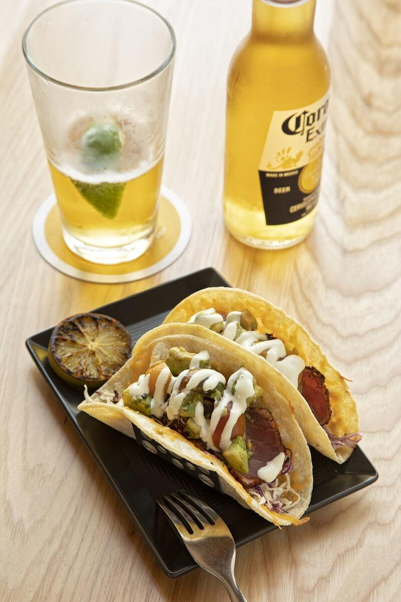 Tuna tacos and a Corona beer