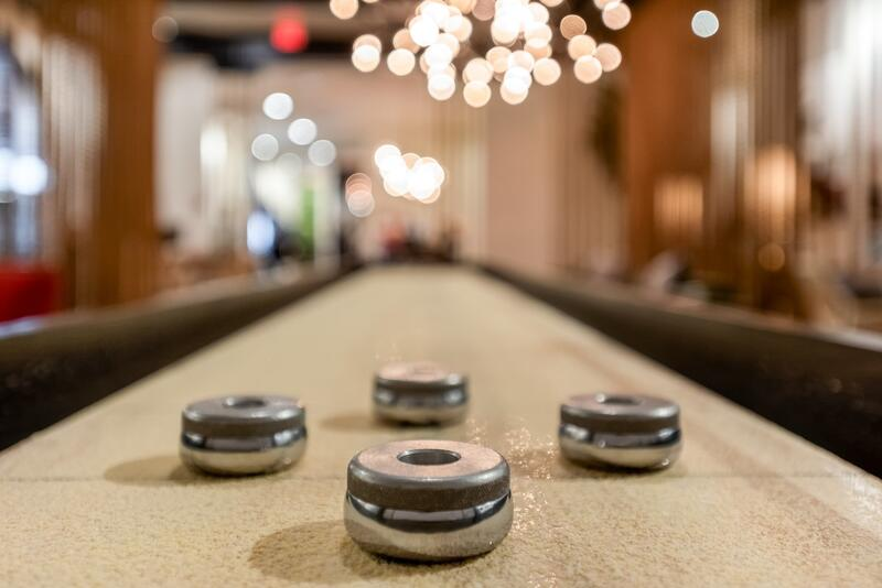 Close up photo of shuffle board table