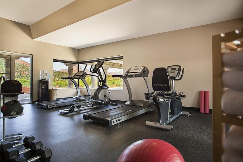 Fitness center with treadmills, weights and more.