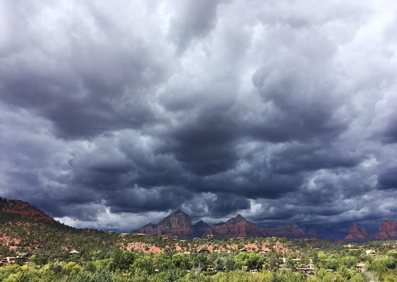 Heavy Arizona storm clouds.