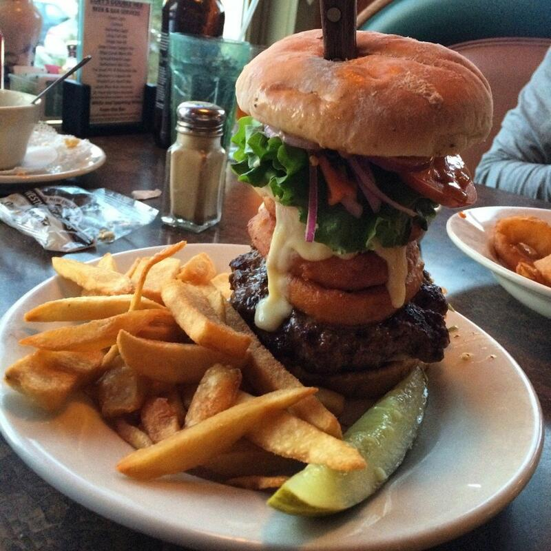 double hex burger and fries