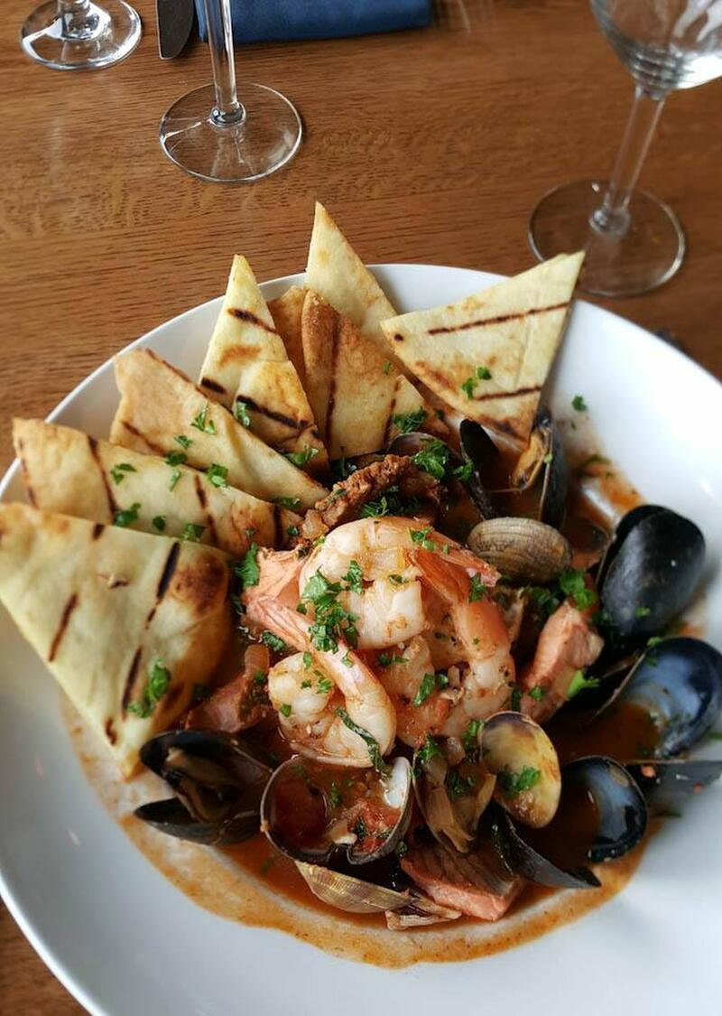 shrimp and mussels with pita bread