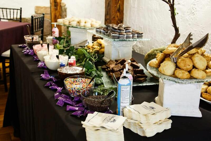 Artfully laid out dessert buffet.