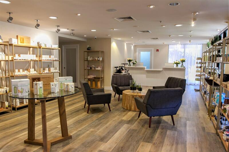shop with accent chairs and product on shelves