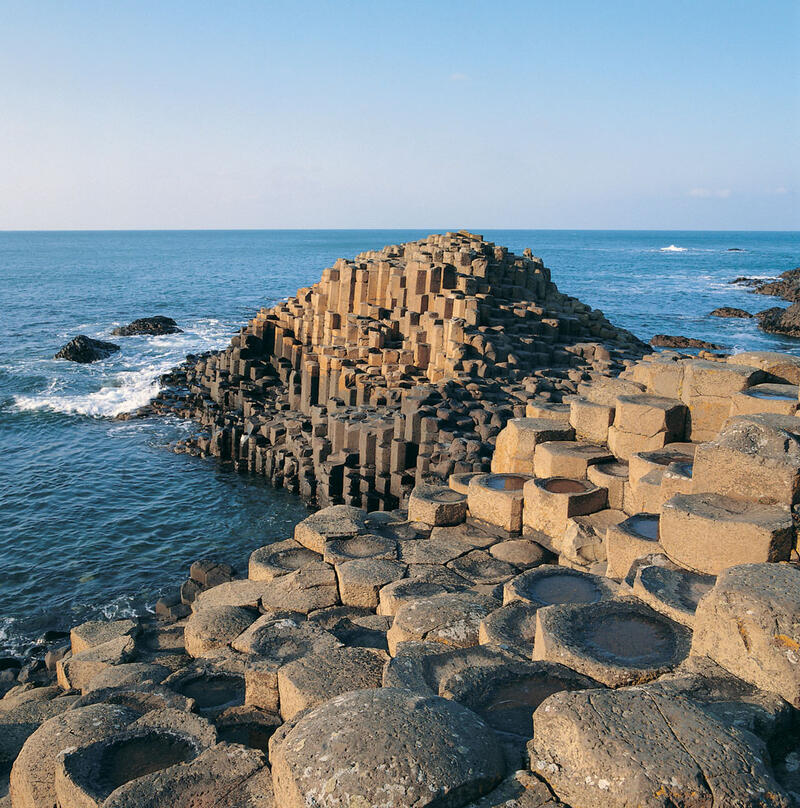 Columns Of Layered Basalt At Giant's Causeway In Northern Irelan