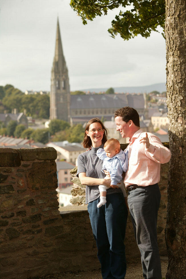 Family Looking At St Columb's Cathedral