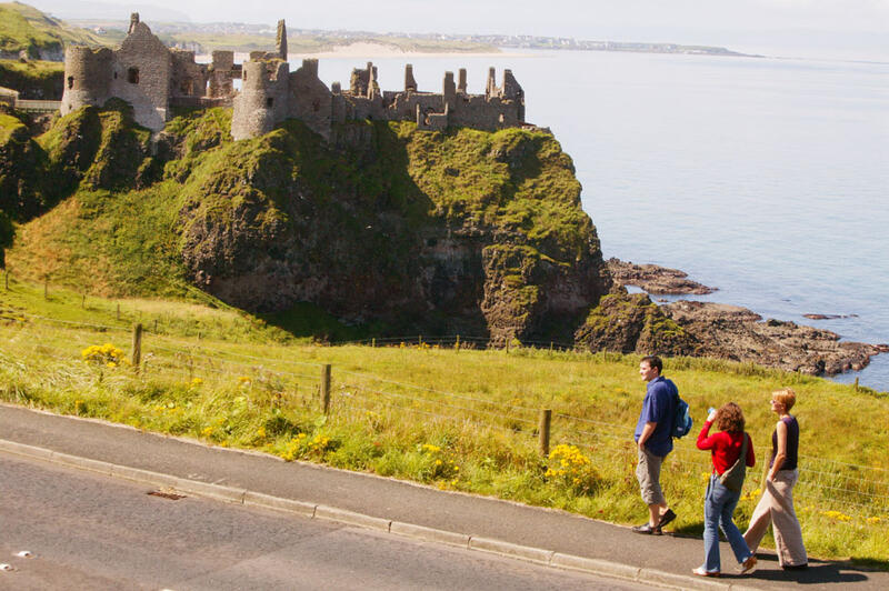 People Walking Near Dunluce Castle