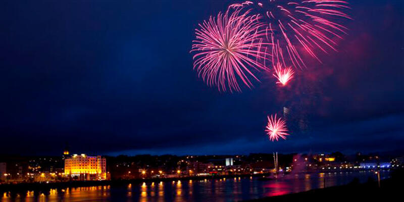 View Of Charlie Nicell Fireworks Display Over City Hotel Derry