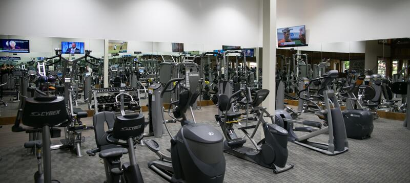 Fitness room with numerous workout machines