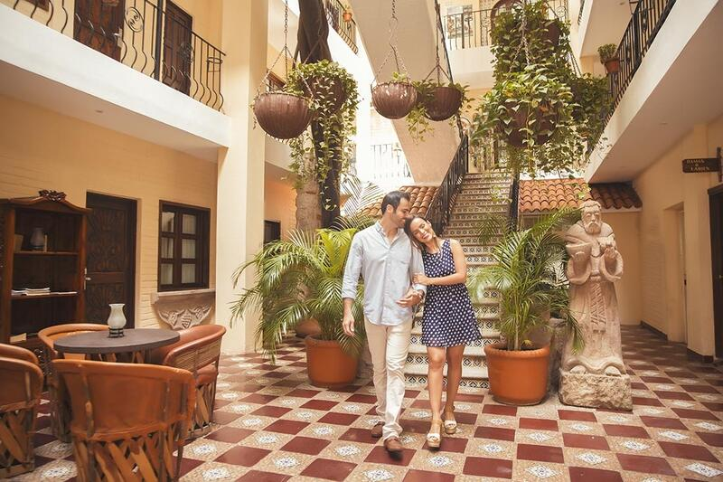 couple walking through hotel