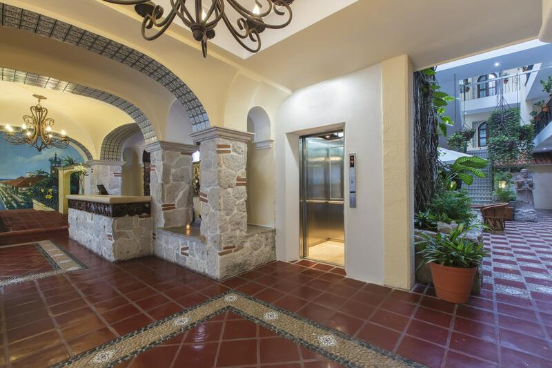 lobby with arches and elevator