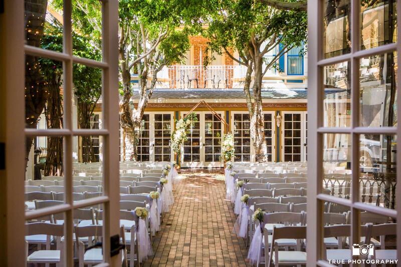 wedding setup in courtyard
