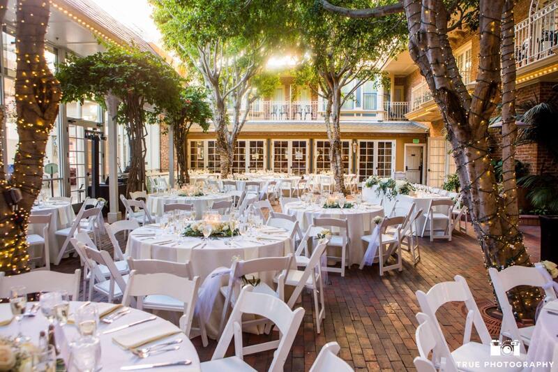 wedding reception setup in courtyard