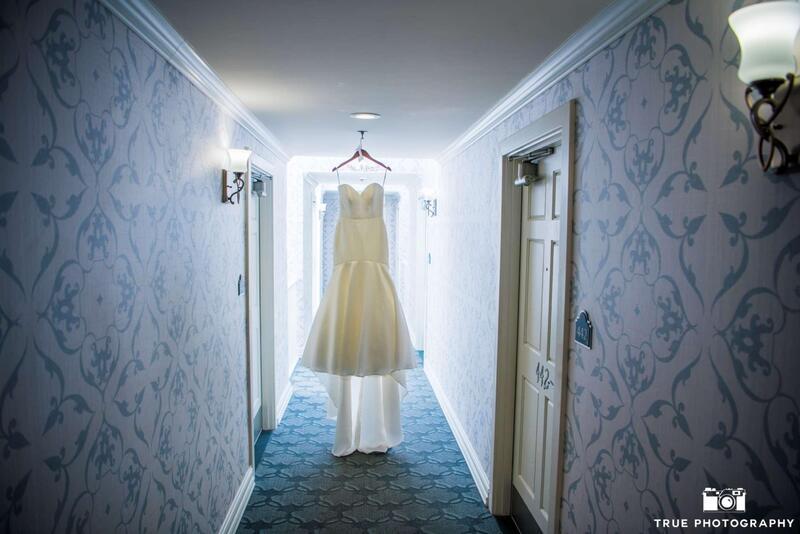 wedding dress in hallway