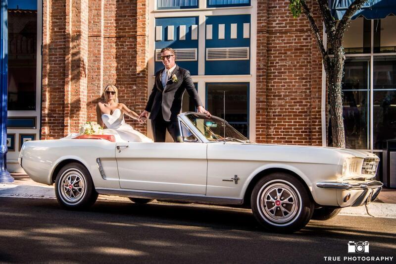 bride and groom in vintage mustang