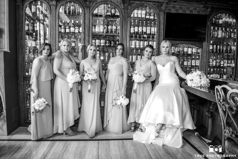 bridal party in bar