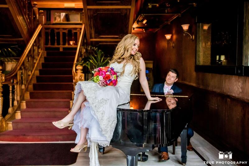 bride and groom on piano