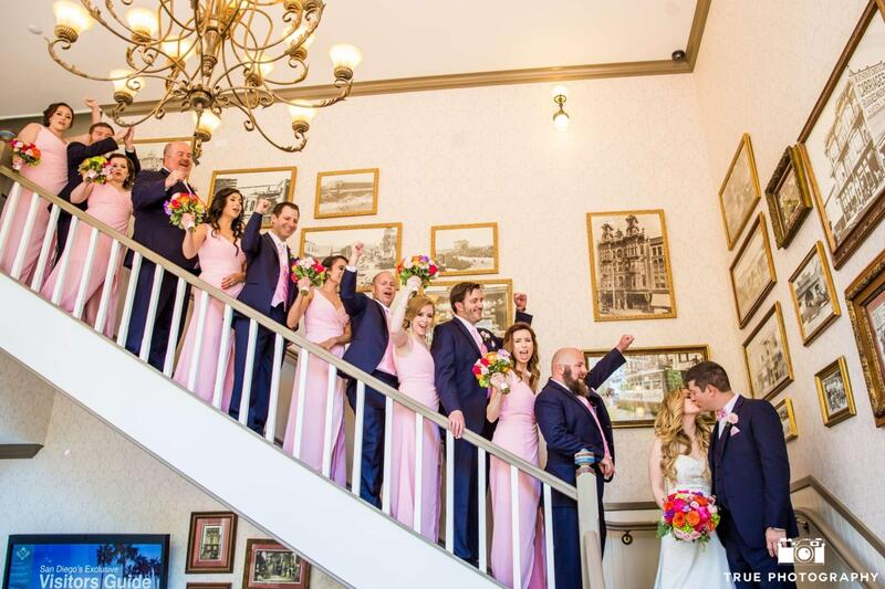 wedding party on stairs